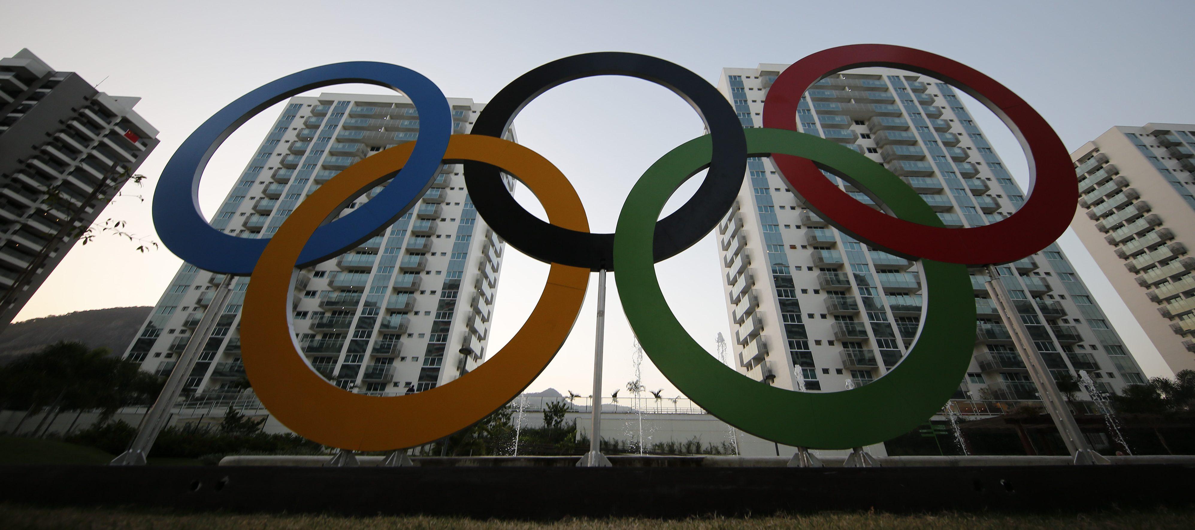 Olympic rings in Rio de Janeiro, Brazil